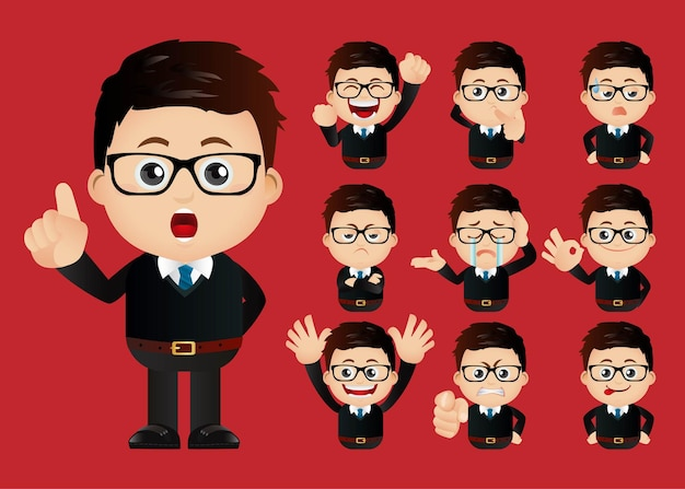 Business people expressions with different faces