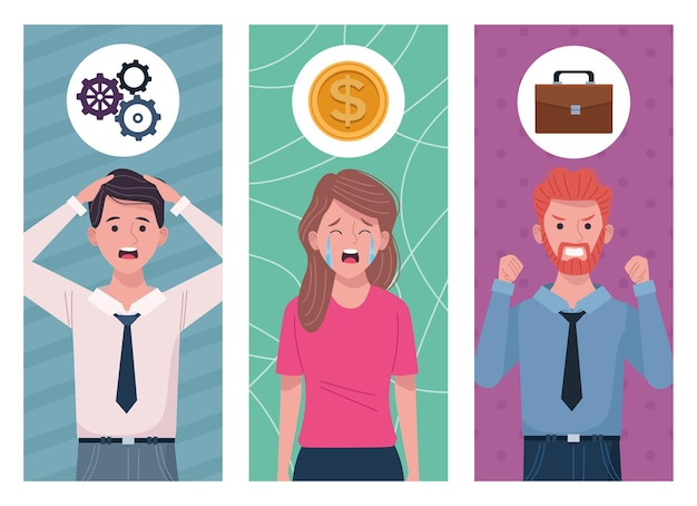 Business people extressed for information overload  illustration