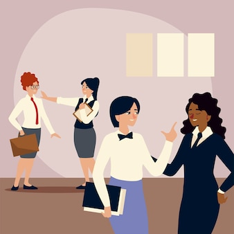 Business people, female employees with folder and briefcase  illustration