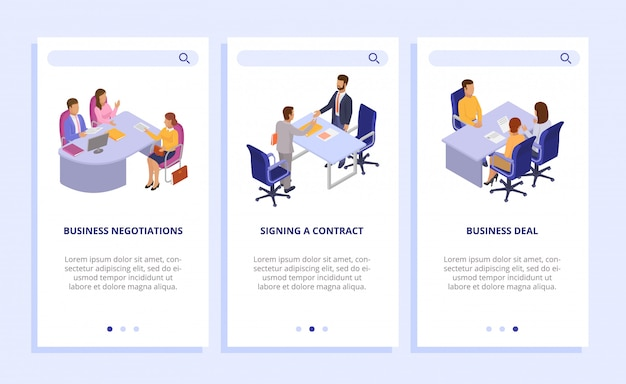 Business people finance dealings   illustration. business negotiations, signing contract vertical banners set. web page, website, mobile phone.