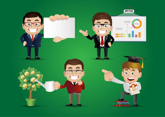 Business people financial concept set