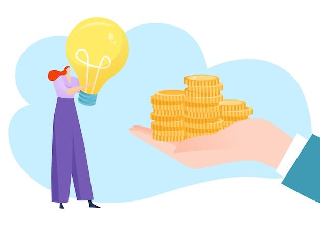 Деловые люди плоские руки с финансовой идеей инвестиций