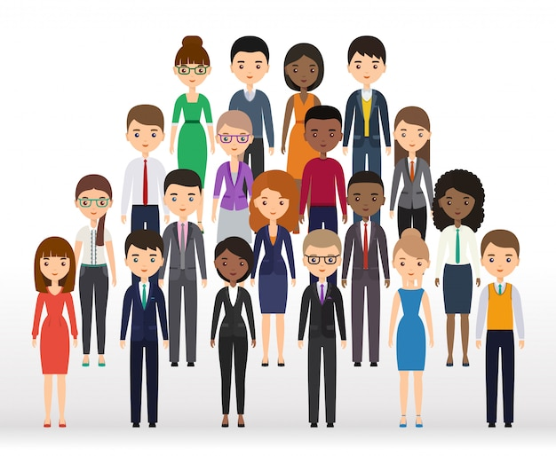 Business people flat silhouettes