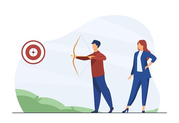 ビジネスマンは目標に焦点を合わせました。ターゲットを狙うアーチェリーの同僚。漫画イラスト