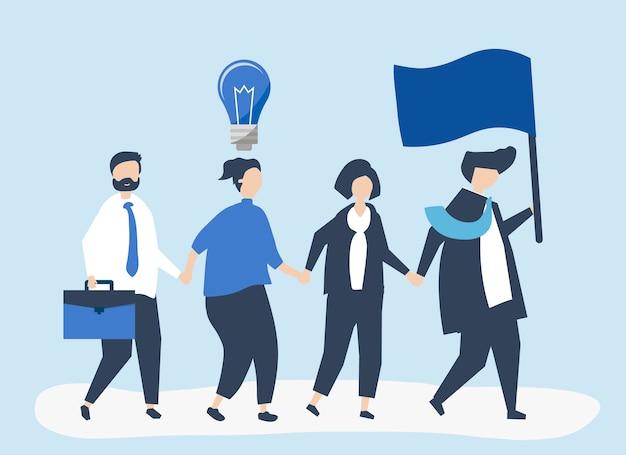 새로운 시장을 찾기 위해 리더를 따르는 사업 사람들