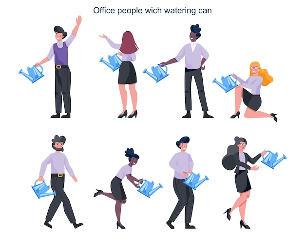 Business people in formal office clothes holding a watering can set. growth concept . idea of success, improvement and achievement.