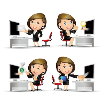 Business people in front of computer