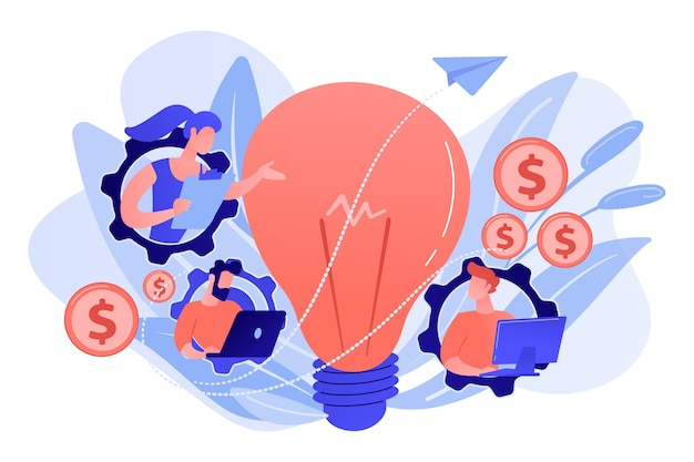 Business people in gears with laptops working and lightbulb. business trend analysis and choosing business direction concept on white background.