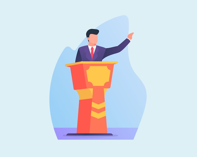 Business people give speech in podium with flat style