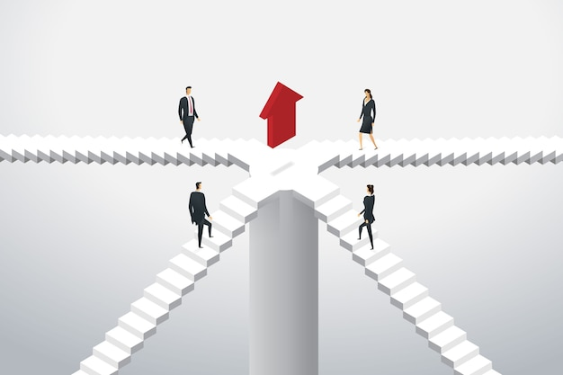Business people group are walking up the stairs to arrow red to the target goal. isometric concept illustration