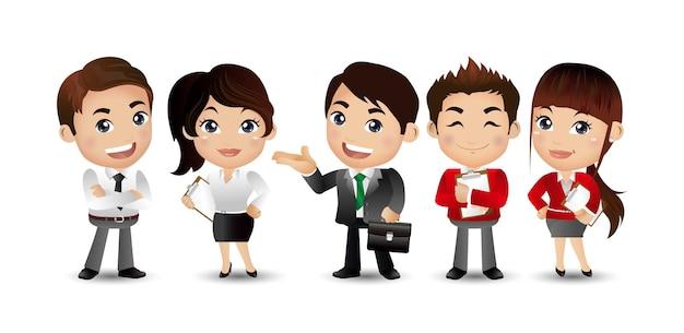 ビジネスマンがアバターキャラクターをグループ化