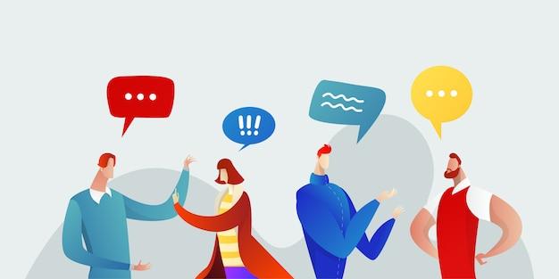 비즈니스 사람들이 그룹 채팅 통신 거품 개념