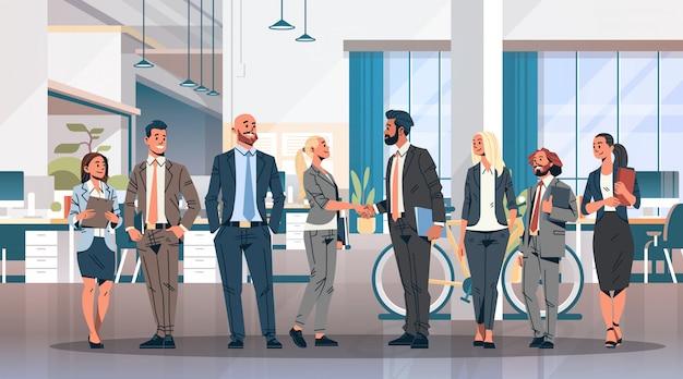 Business people group handshake banner