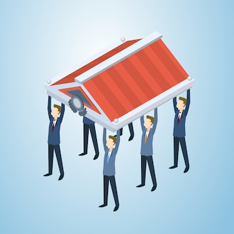 Business people group hold roof concept