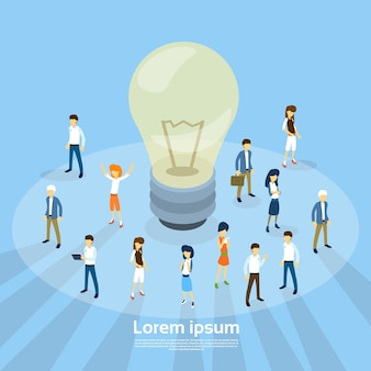 Business People Group Light Bulb New Idea