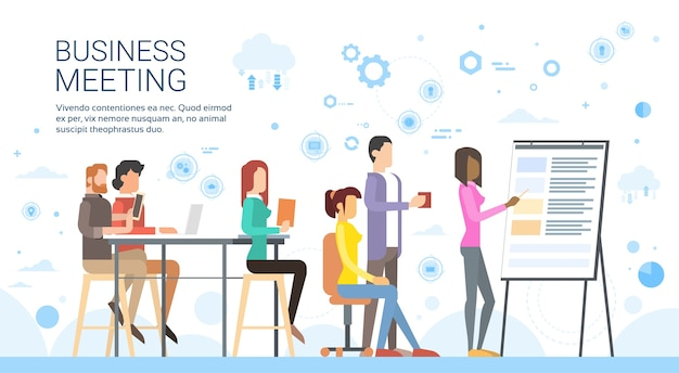 Business people group presentation