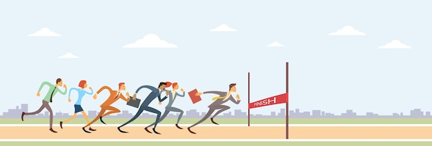 Business people group run to finish line