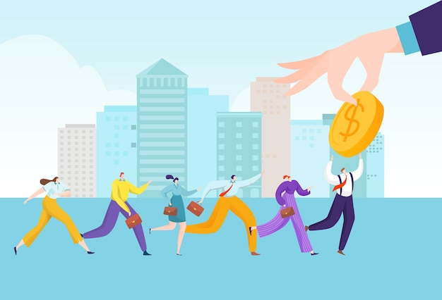 Business people group run to huge businessman hand with finance concept