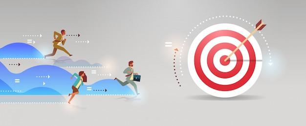 ビジネスの人々のグループを実行する目的地チームリーダー競争勝利概念フラット水平