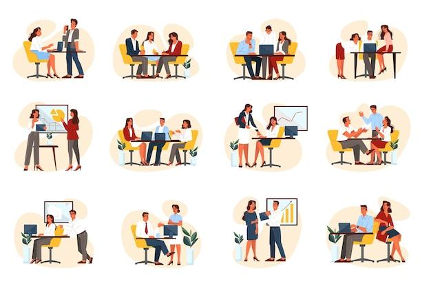 ビジネス人々のグループは彼らの職場に設定。オフィスワーカーのコレクション、パートナーシップ、チームワーク、コラボレーションの概念。