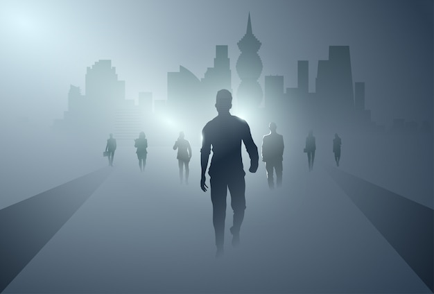 Business people group silhouette making step forward full length over shadow city background