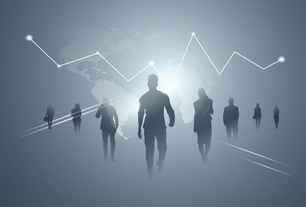 Business people group silhouette team over finance graphic background