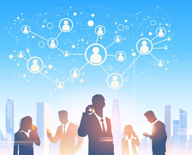 Business people group silhouettes over city landscape modern office social network communication