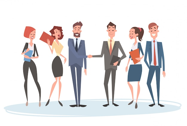 Business people group team human resources businessman hand shake agreement