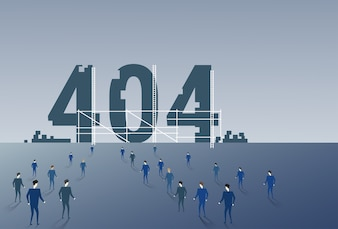 Business People Group Walking To 404 Not Found Sign
