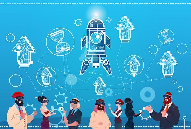 Группа деловых людей носит очки цифровой реальности космическая ракета успех стартап-разработка