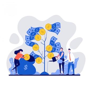 金のなる木を育て、植え、水をまくビジネス人々。ビジネス、金融、投資、成長、繁栄の概念図。