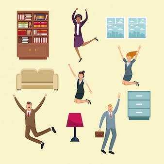 Деловые люди счастливые и офисные элементы