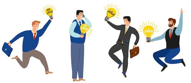 ビジネスの人々は新しいアイデアのコレクションを持っています。ビジネスアイデア電球、ビジネスマンインスピレーションの新しいアイデアのイラスト。