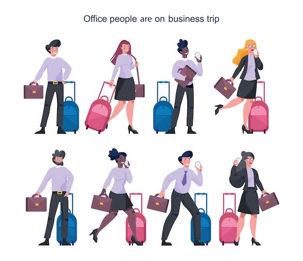 出張セットを持つビジネス人々。スーツケースを持って歩いて電話で話している女性と男性のキャラクター。荷物を持って出張の従業員。