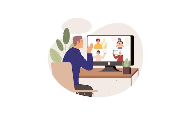 家のイラストに滞在しながら同僚とのビデオ会議を持つビジネス人々