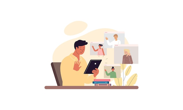 Деловые люди проводят видеоконференцию с коллегами, оставаясь дома
