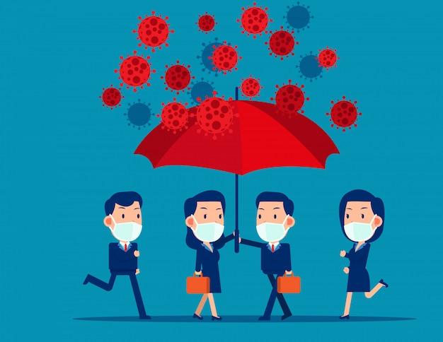 ビジネスマンはウイルスから保護するために傘の下を覆うのを助けます。 covid-19セーフゾーンの保護