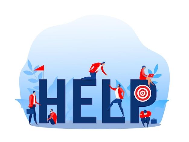 成長するベクターイラストの上に従業員が登るのを助けるビジネスマン