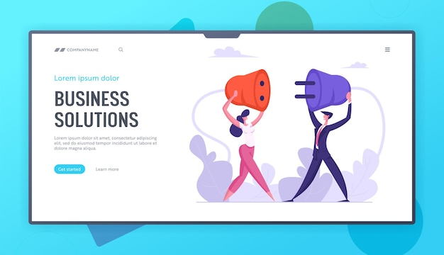 Business people hold plug in hands concept landing page set
