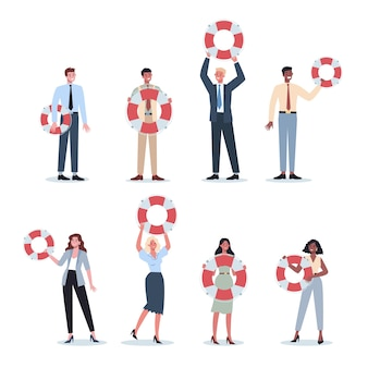 Деловые люди, держащие спасательный круг. мост жизни как метафора помощи и безопасности. идея обслуживания клиентов. помогите людям с проблемами. предоставление клиенту ценной информации.