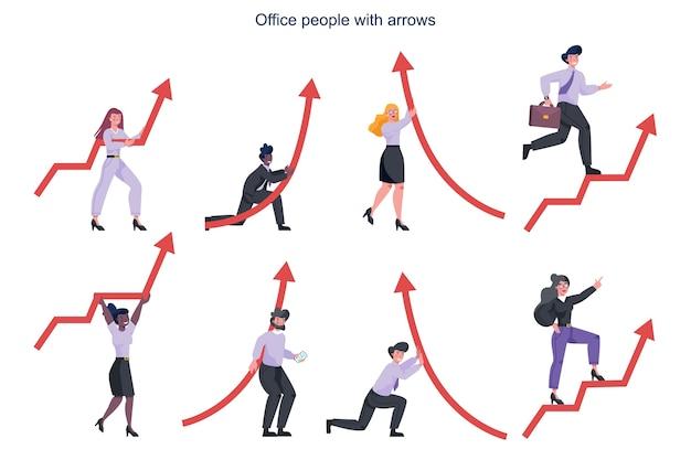 빨간색 상승 화살표를 들고 사업 사람들입니다. 재정적 성장과 사업 진행에 대한 아이디어. 성장과 성공의 비유로 가리키는 빨간색 화살표를 들고 젊은 사무실 관리자.