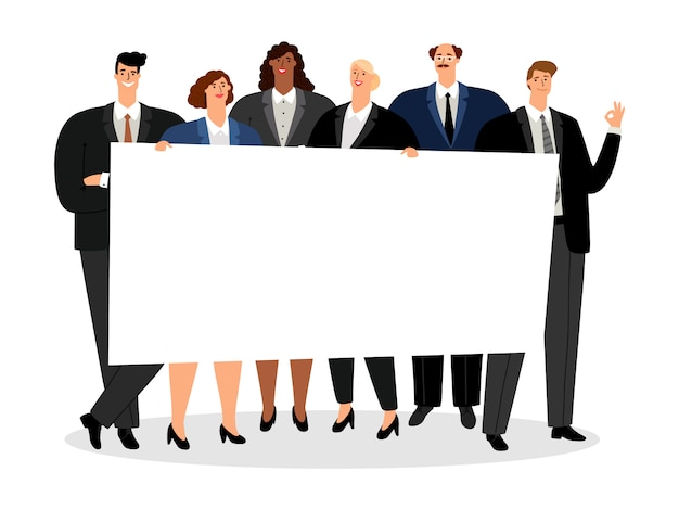 Business people holding blank banner