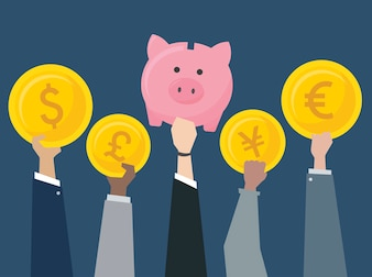 Business people holding currencies illustration