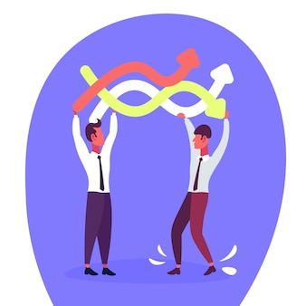 Business people holding curved arrows