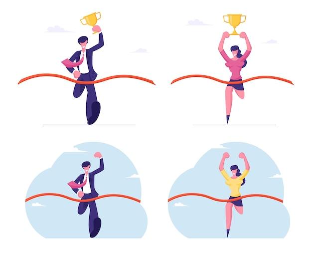 Деловые люди, держащие золотой кубок и машущие рукой, принимают участие в забеге к успеху