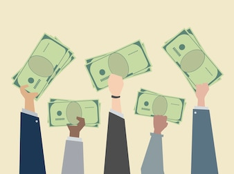 Business people holding money illustration