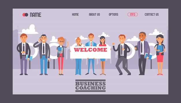 Business people holding sign with text welcome web template website