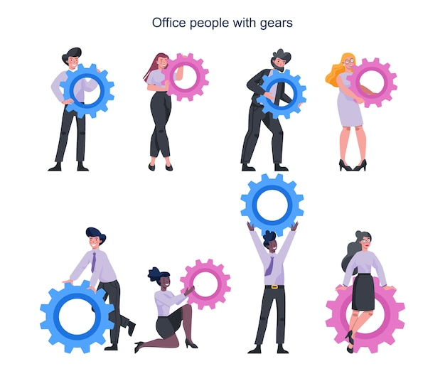 Business people holding technology gear. idea of office worker productively working and moving towards success. partnership and collaboration.  abstract