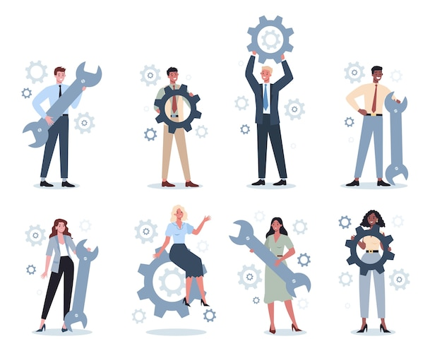 レンチとギアセットを保持しているビジネスマン。オフィスワーカーが生産的に働き、成功に向かって動くという考え。パートナーシップとコラボレーション。概要