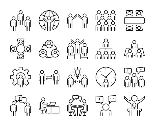 Business people icon. business people line icon set. editable stroke, pixel perfect.